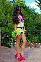 yellow chicnova bag - black Prada sunglasses - hot pink Noirlu necklace