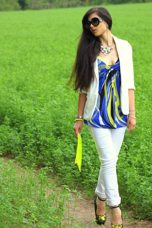 white Sheinside blazer - yellow Aldo wedges - blue phard top