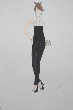 white purse - black and white heels - black and white bodysuit - bracelet