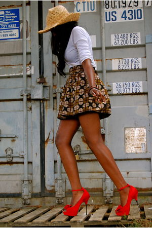 red shoes - brown skirt - white top