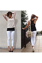 bubble gum reserved sweater - beige reserved bag - black New Yorker blouse
