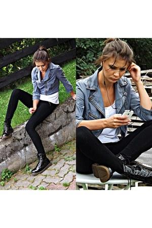 black deezee boots - teal Allegropl blazer - black New Yorker pants