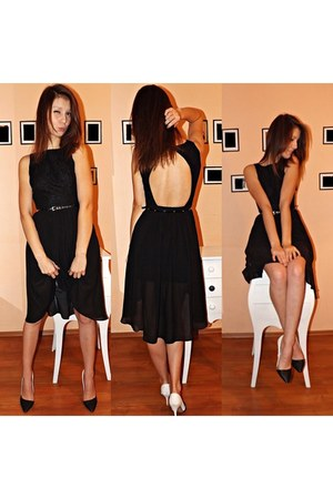 black Mohito dress - off white Mohito purse - white heels heels