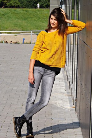 gold reserved sweater - black deezee boots - heather gray Stradivarius jeans