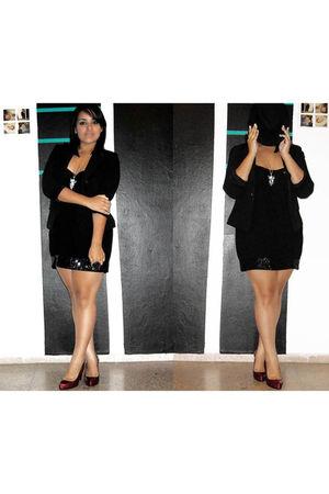 black rainbow dress - black Love 21 blazer - red Fioni shoes