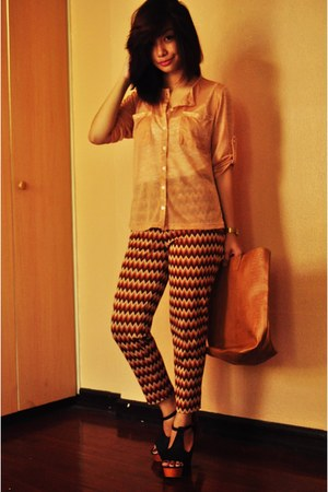 brown bag bag - zigzag lines pants - see through charlie top