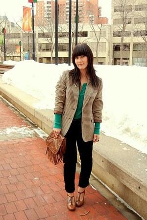 mens vintage blazer - studded fringe Aldo bag - H&M pants - round toe Spring hee