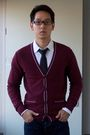 Red-we-cardigan-black-h-m-tie-white-calvin-klein-jeans-shirt-blue-topman-j
