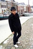 black H&M hat - purple H&M sweater - beige Converse shoes - blue Zara pants - bl