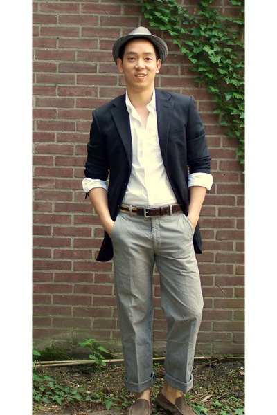 silver H&M hat - gray Dockers pants - brown Zara belt - gray blazer