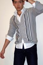 gray Bedo Homme cardigan - white calvin klein shirt - brown Guess Collection acc