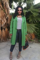 green london fog vintage thrifted coat - blue IT thrifted jeans