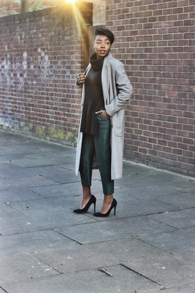 black Missguided jumper - heather gray asos coat - forest green Topshop pants