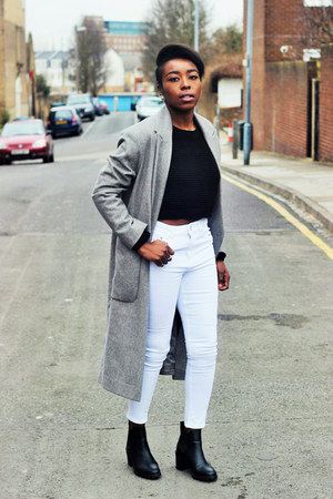 white skinny jeans asos jeans - black Monki boots - gray oversized asos coat