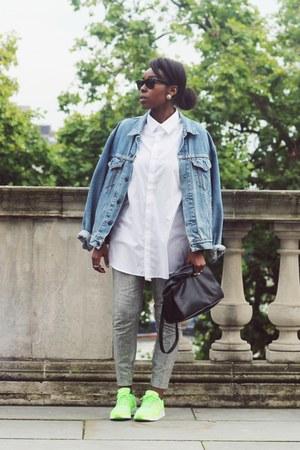 chartreuse nike sneakers - sky blue oversized Levis jacket