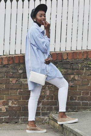 sky blue oversized weekday shirt - white asos jeans