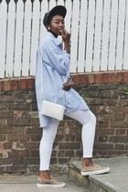 sky blue oversized weekday shirt - white asos jeans