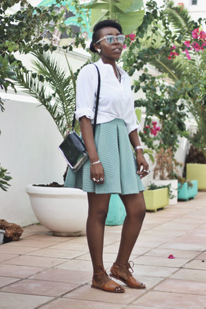 turquoise blue skater skirt H&M skirt - white white shirt suiteblanco shirt