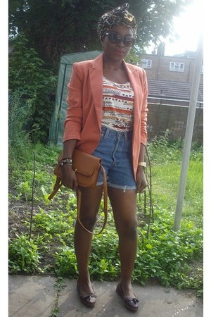 carrot orange boyfriend fit Forever 21 blazer - bronze satchel Primark bag