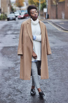 cream roll neck River Island jumper - camel oversized asos coat