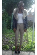 black leather jacket new look jacket - light brown fur shrug H&M scarf