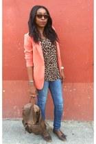 carrot orange orange Forever 21 blazer - blue skinny Zara jeans
