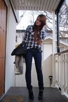 vintage scarf - H&M jacket - Cubus jeans - Din Sko shoes