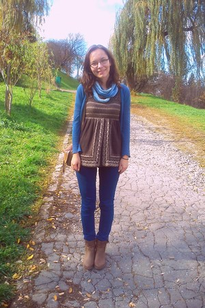 blue cardigan - dark brown boots - sky blue scarf - brown blouse