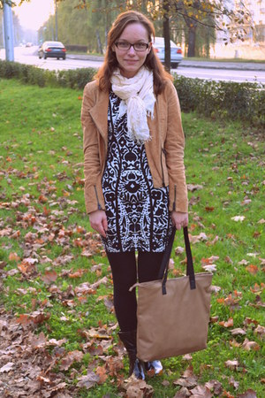 black boots - black dress - bronze Bershka jacket - burnt orange F&F bag