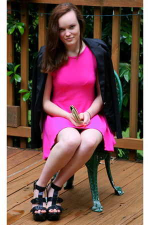 hot pink dress Zara dress - black Ebay blazer - gold clutch Sportsgirl purse