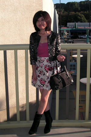 black H&M jacket - pink American Eagle top - white H&M skirt - black Michael Kor