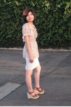 beige H&M blouse - white American Apparel skirt - brown Michael Kors shoes - sil