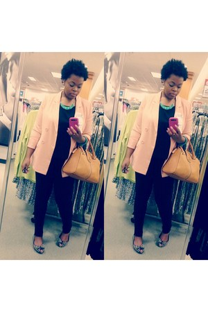 light pink Forever21 blazer - black Express leggings - black Forever21 shirt