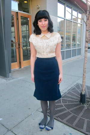 lace BB Dakota blouse - Target tights - 1940s vintage skirt