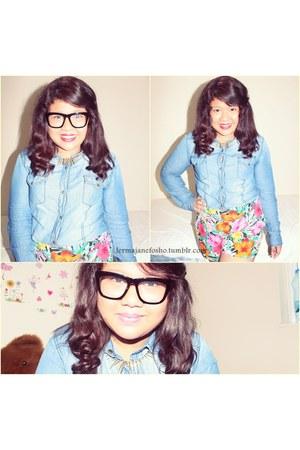 bubble gum denim next t-shirt - floral print H&M shorts