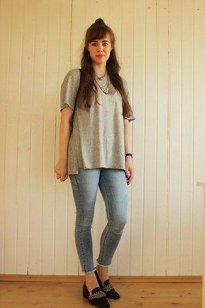 heather gray Light in the box shirt - black Zara bag - black Zara loafers