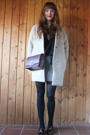 heather gray OASAP coat - black fecbek blouse - crimson blackfive flats