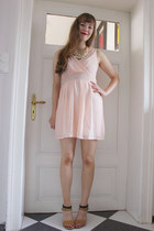 bronze milanoo sandals - light pink WalG dress - ivory milanoo necklace