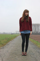 brick red OASAP jumper - black Zara jeans - dark brown PERSUNMALL flats