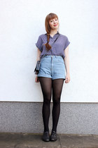 sky blue PERSUNMALL shorts - navy Primark blouse