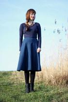 blue PERSUNMALL skirt - navy Primark shirt - brick red Primark necklace