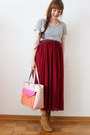 Neutral-lydc-london-bag-ruby-red-oasap-skirt
