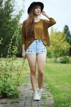 mustard Zara shirt - sky blue shorts