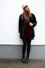 Black-oasap-coat-crimson-primark-skirt-black-ahaishopping-blouse