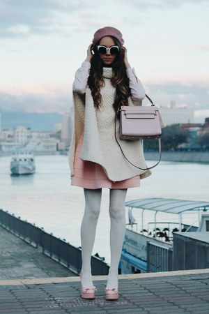 pink asos hat - white asos cape - pink Jeffrey Campbell pumps