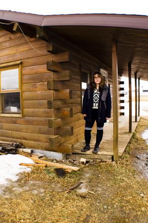 romwe jacket - doc martens boots - Motel Rocks dress - romwe sweater
