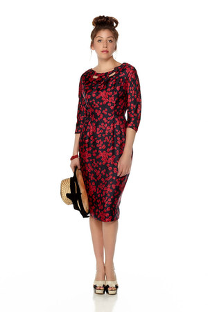 red printed silk Grace Taylor Original dress