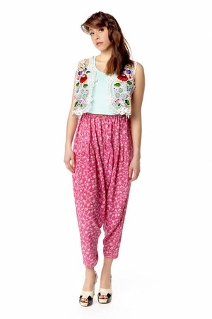 white embroidered vest - bubble gum harem pants