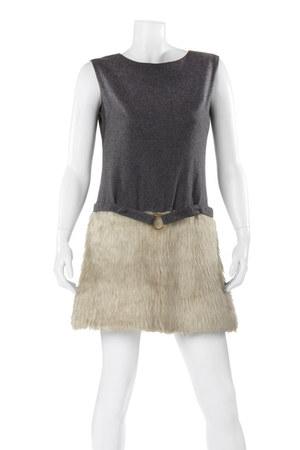 charcoal gray wool faux fur dress
