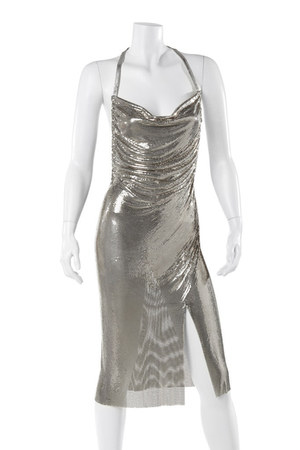 silver metal trend Carlos Miele dress
